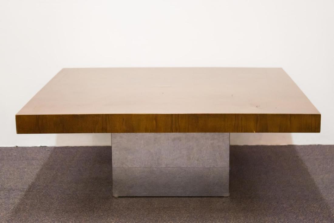 Milo Baughman Mid-Century Low Table, Wood & Chrome