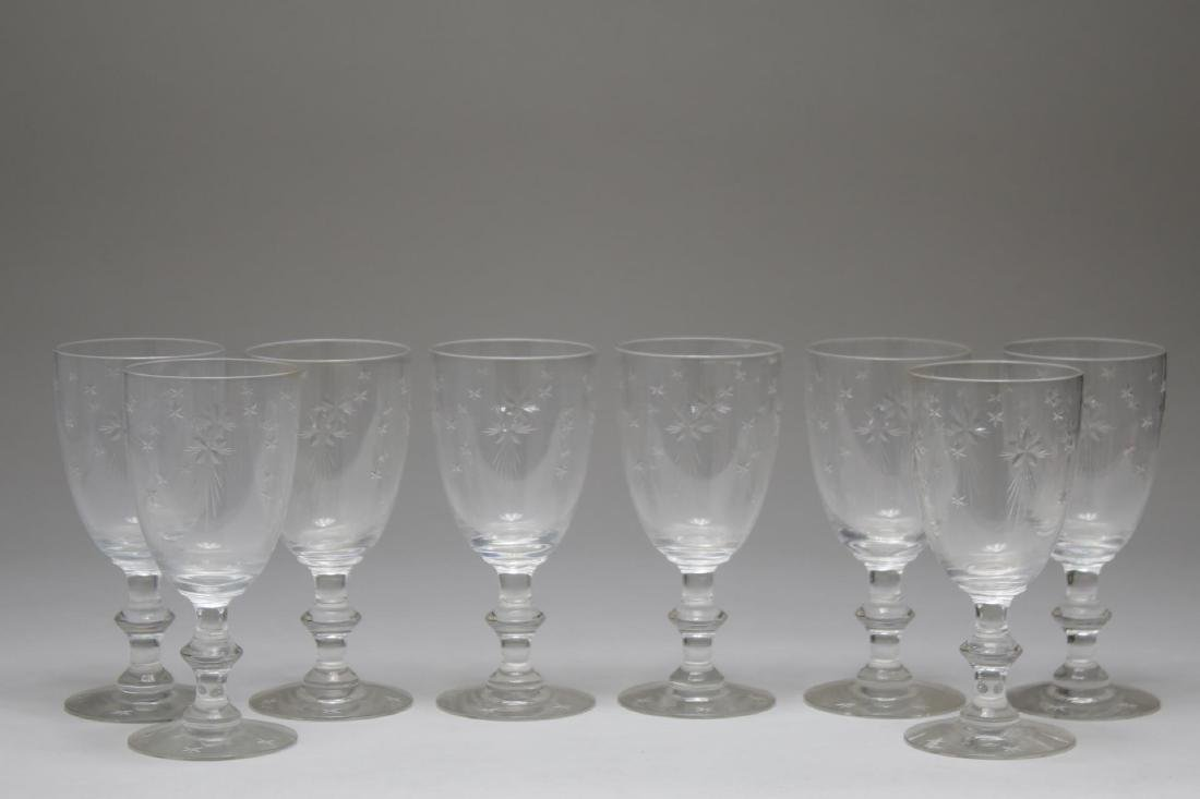 "Mid-Century ""Atomic Star"" Crystal Wine Glasses"