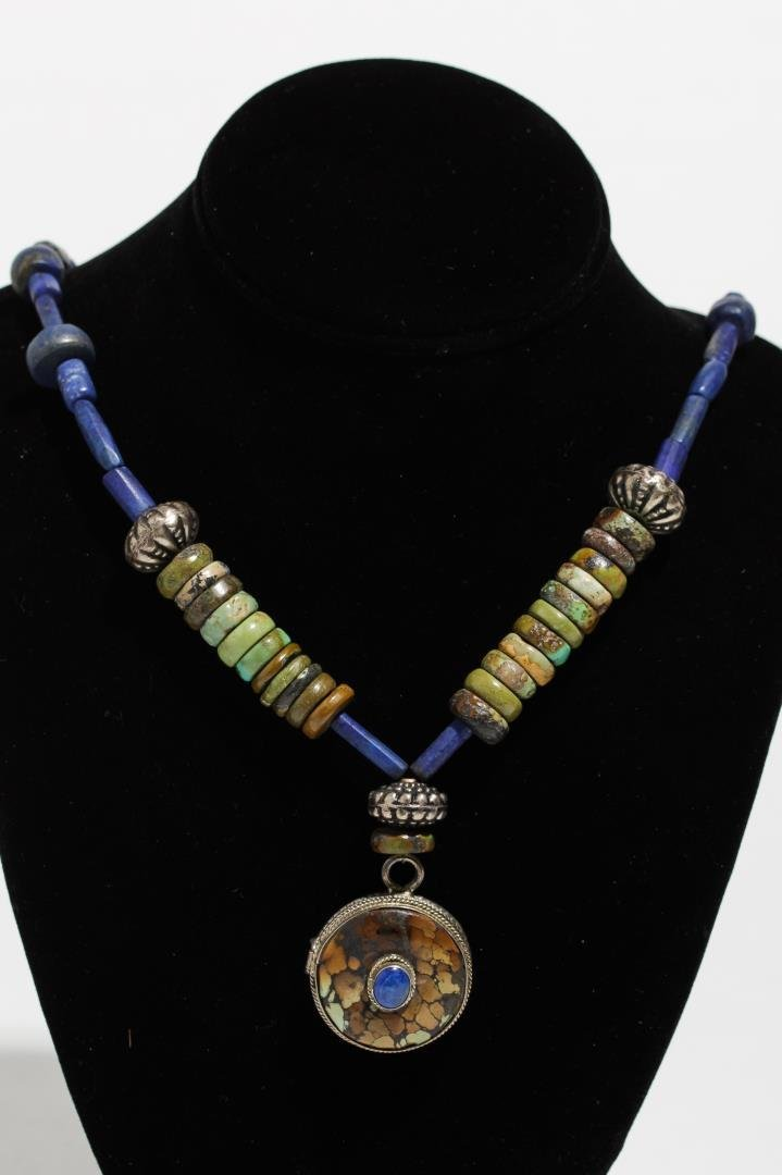 Ethnographic Lapis, Turquoise, & Silver Necklace