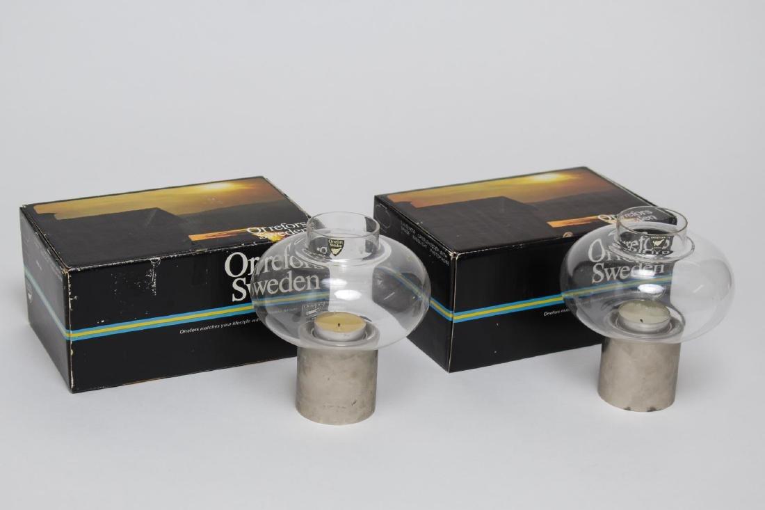 "Orrefors Glass Mid-Century ""Tubla"" Hurricane Lamps"