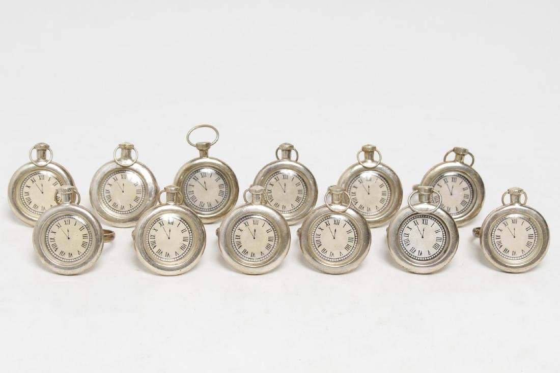 Pocket Watch Napkin Rings, 12 with Nickel-Finish