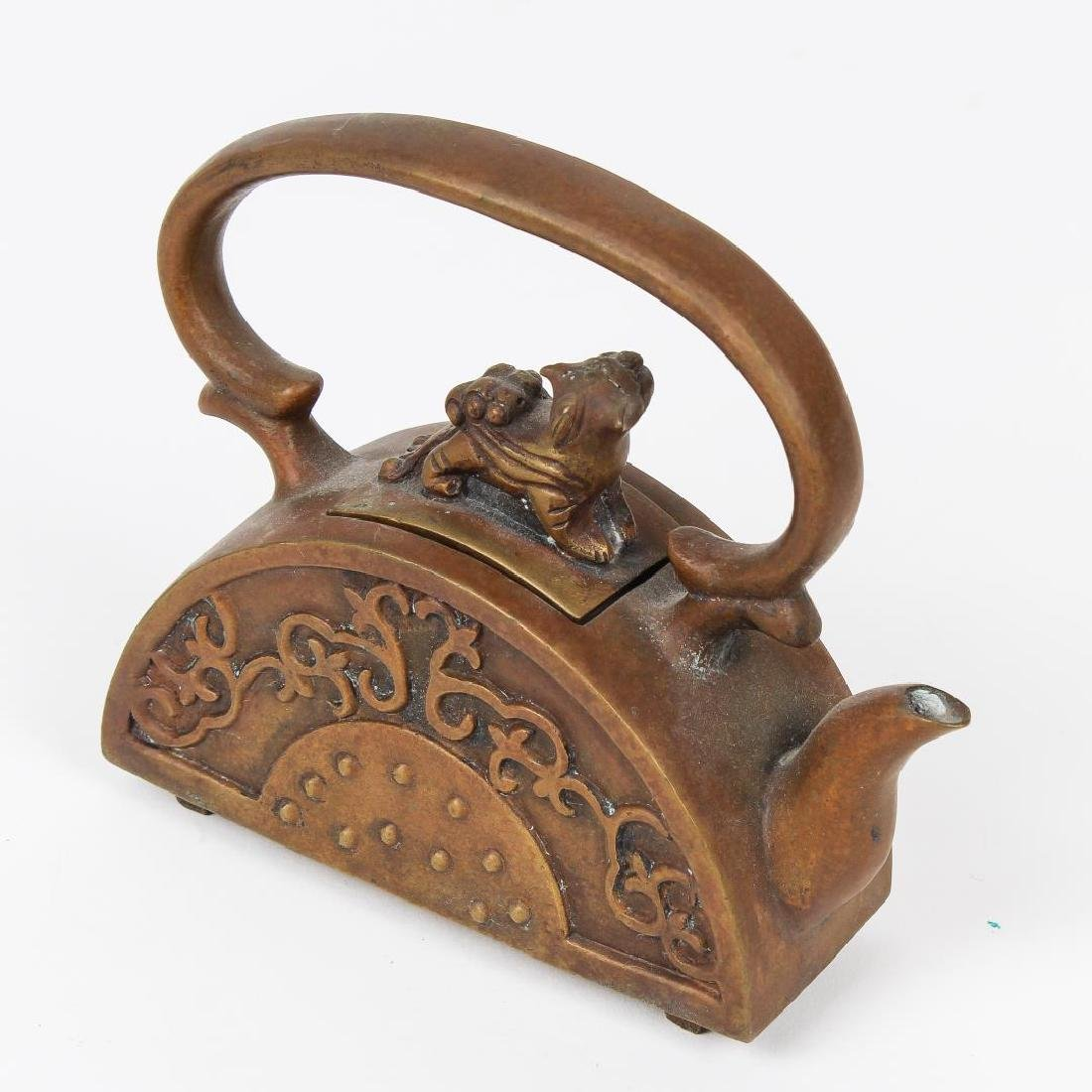 Chinese Brass Teapot with Foo Dog Finial