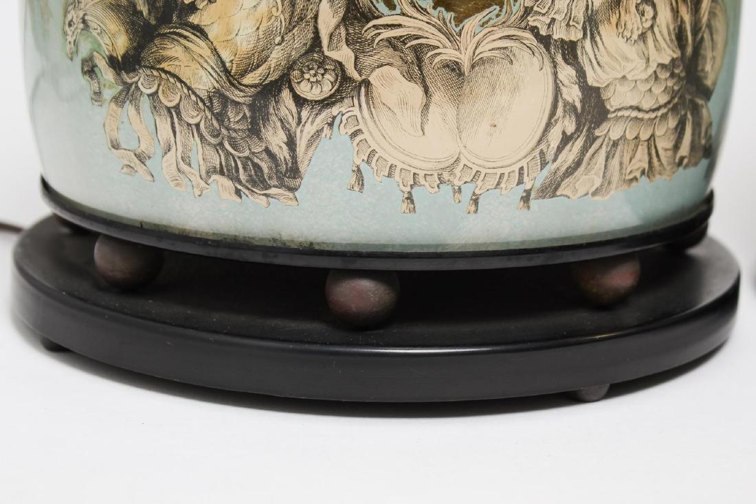 Fornasetti-Manner Gilt Decoupage Lamps, Pair - 10