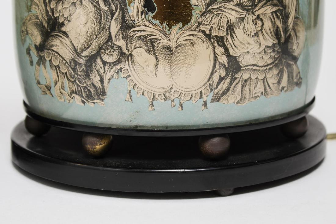 Fornasetti-Manner Gilt Decoupage Lamps, Pair - 11