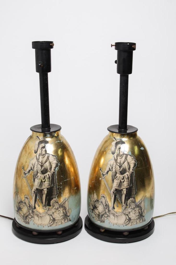 Fornasetti-Manner Gilt Decoupage Lamps, Pair
