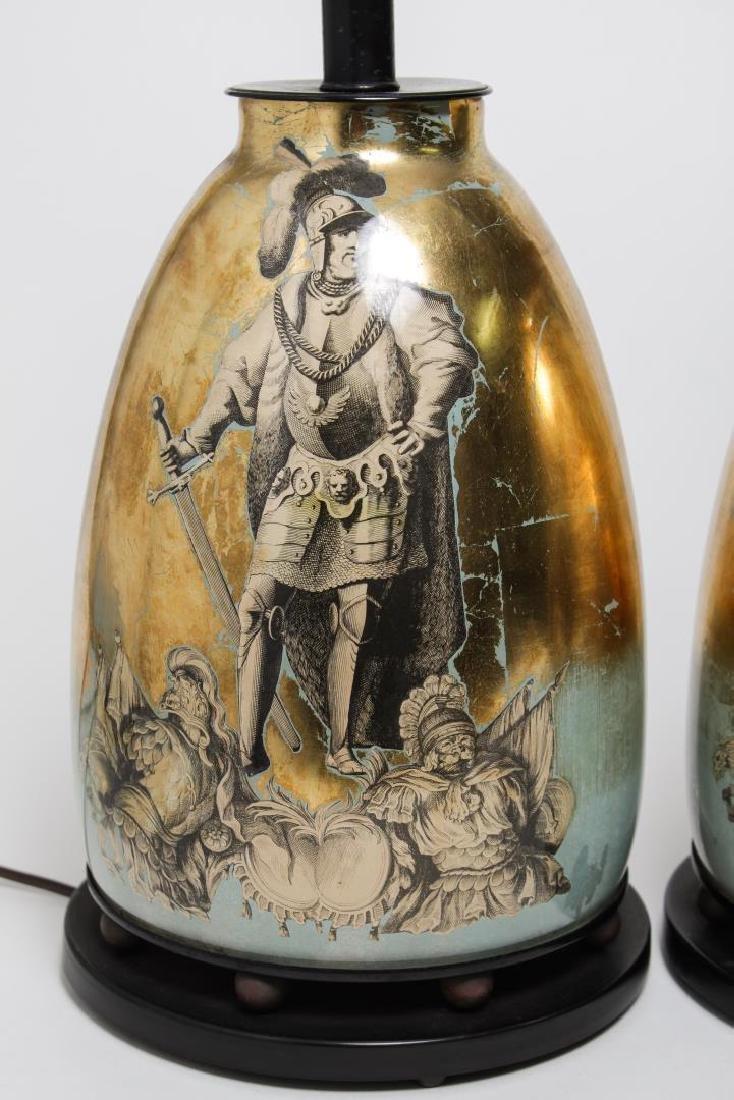 Fornasetti-Manner Gilt Decoupage Lamps, Pair - 2