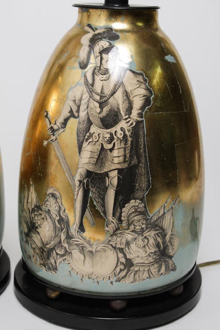 Fornasetti-Manner Gilt Decoupage Lamps, Pair - 3