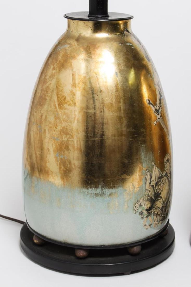 Fornasetti-Manner Gilt Decoupage Lamps, Pair - 4