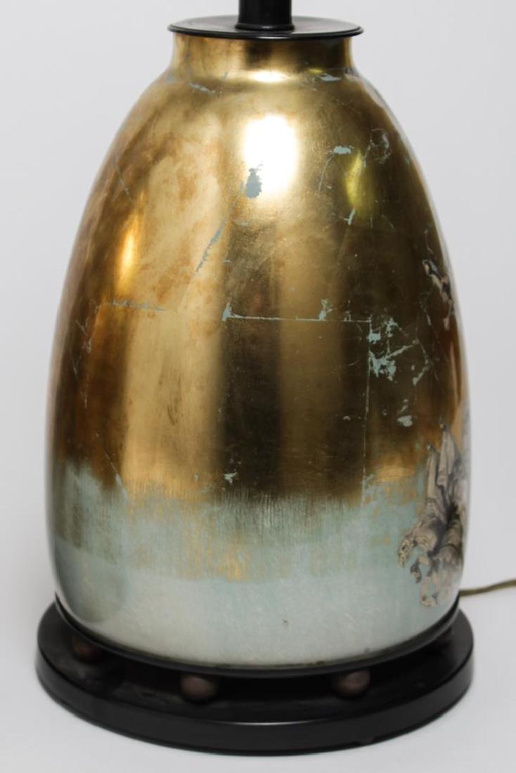 Fornasetti-Manner Gilt Decoupage Lamps, Pair - 5