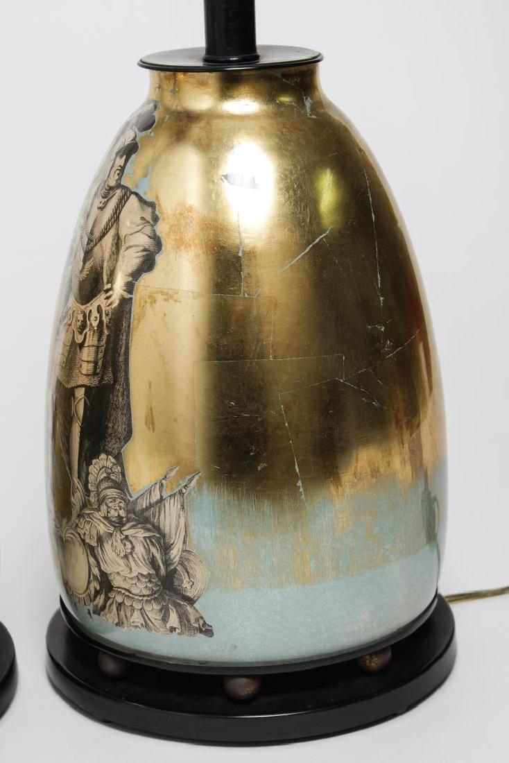 Fornasetti-Manner Gilt Decoupage Lamps, Pair - 9