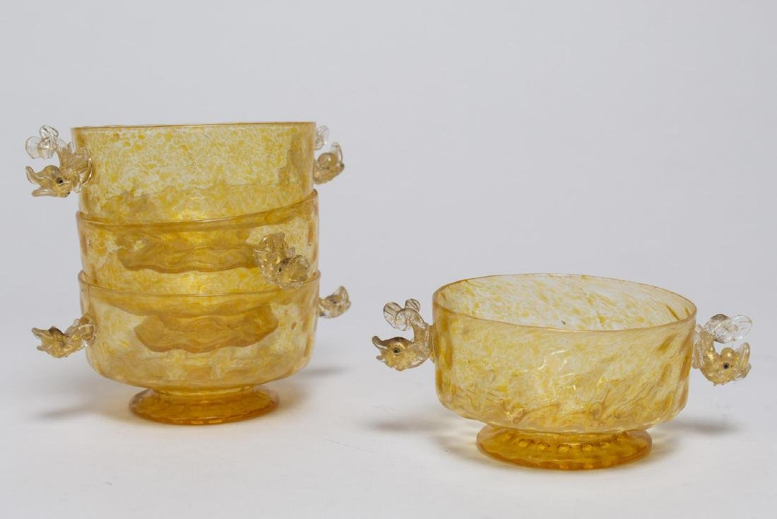 Salviati Murano Venetian Dolphin Glassware c 1950s - 4