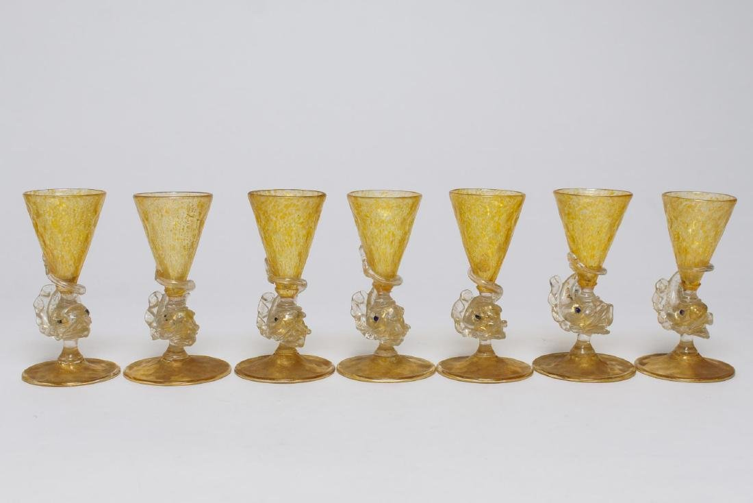 Salviati Murano Venetian Dolphin Glassware c 1950s - 7