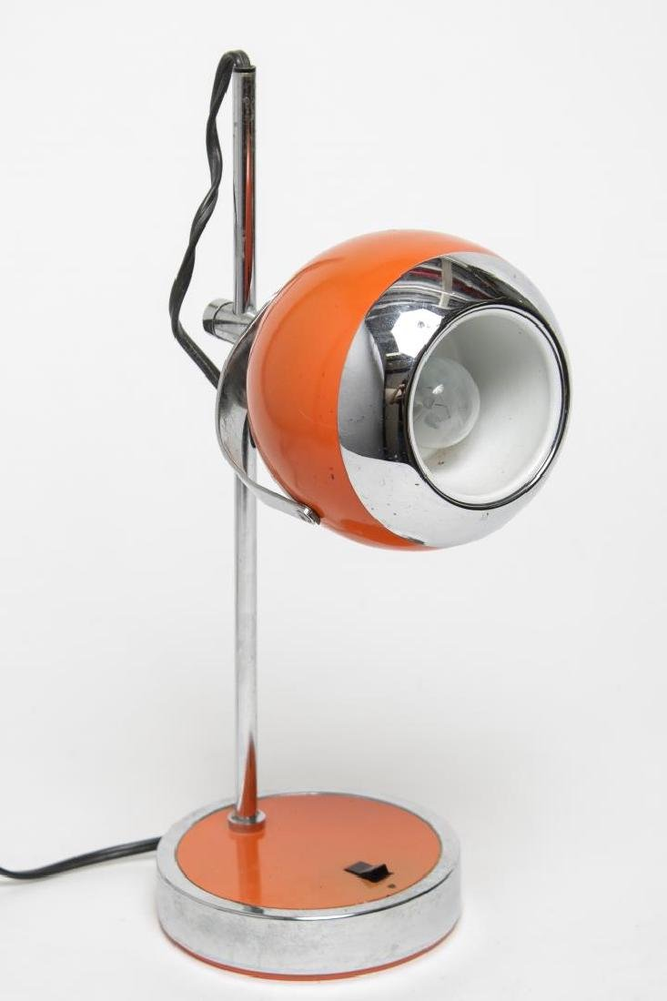 Hamilton Mid-Century Modern Orange Desk/Ball Lamp