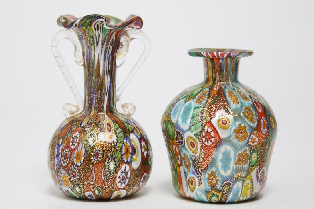 Italian Venetian Murano Millefiori Glass Vases, 2