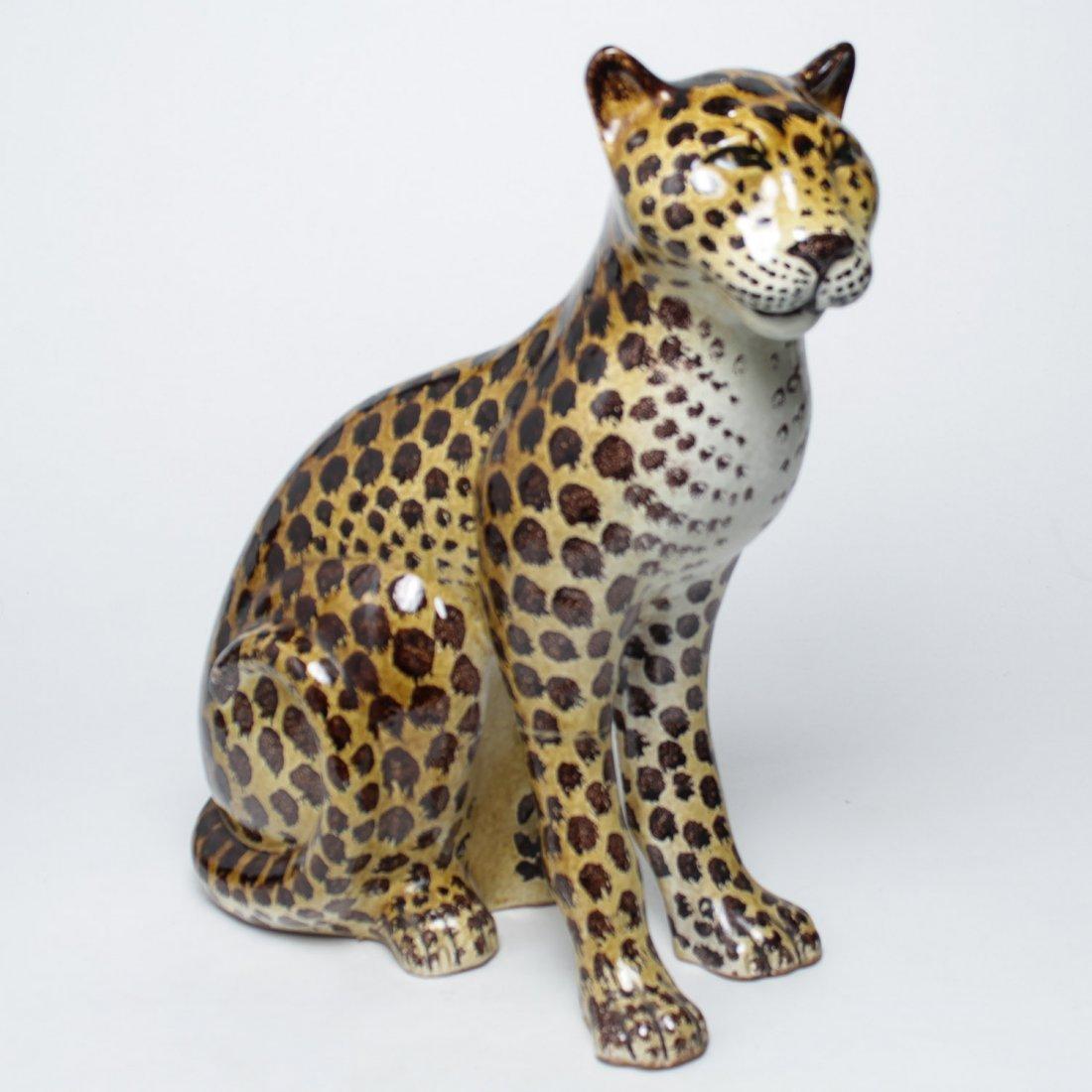 Italian Ceramic Leopard Sculpture