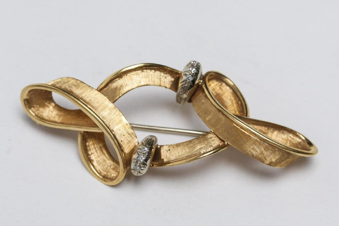 Italian 18K Gold Ribbon & Diamond Brooch