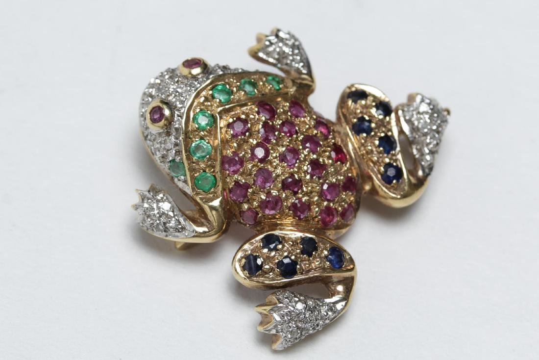 Gold Frog Brooch, 14K w. Diamond, Ruby, & Emerald