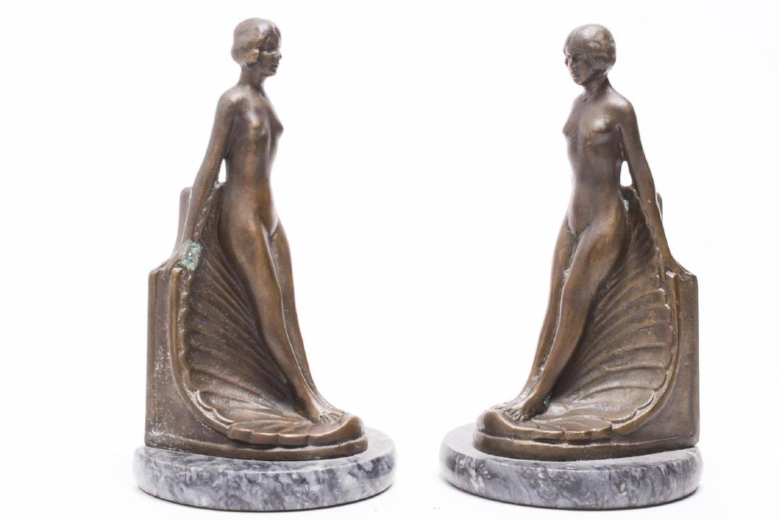 Art Deco Bookends of Nude Beauties, Bronzed Metal