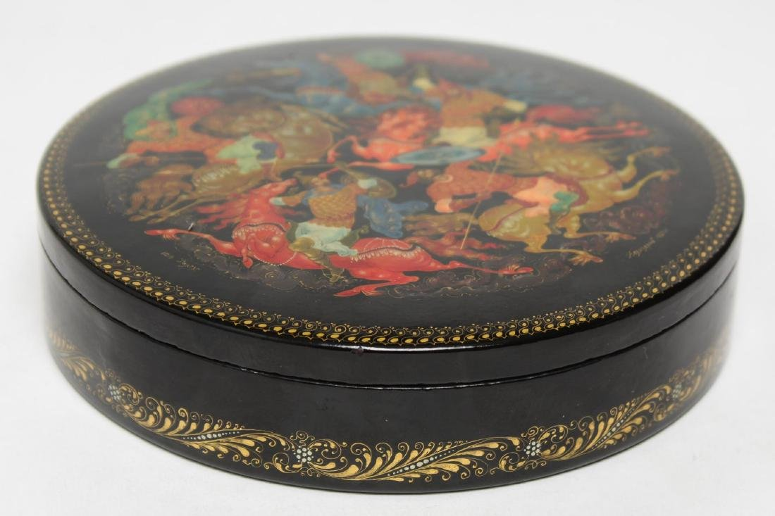 Russian Lacquer Trinket Box, Hand-Painted