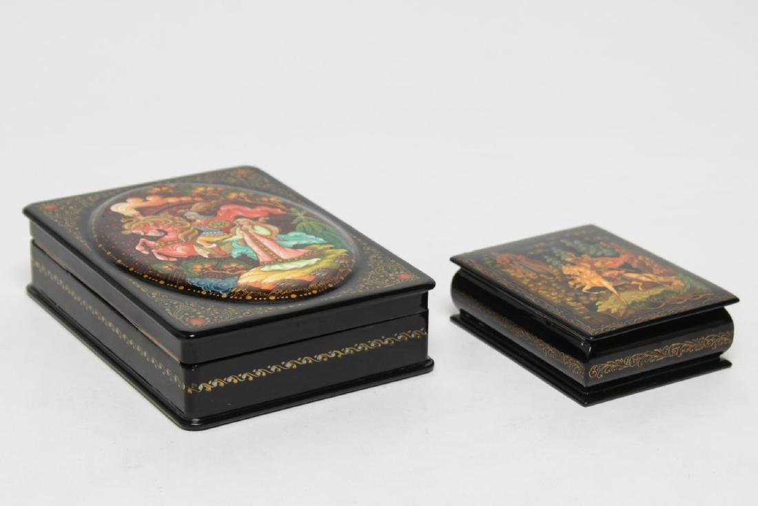 Russian Lacquer Boxes, 2 Hand-Painted