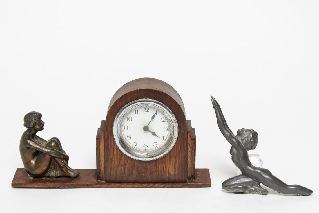 Art Deco Mantel Clock & Hood Ornament