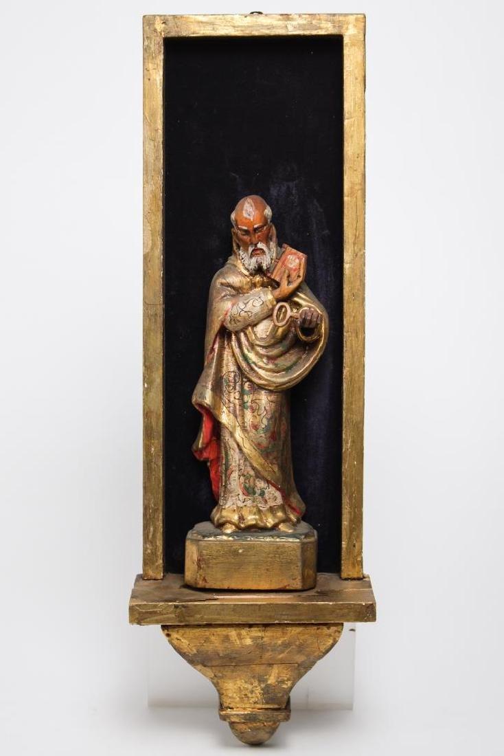 """Mexican Folk Art """"St. Peter"""" Wood Sculpture"""