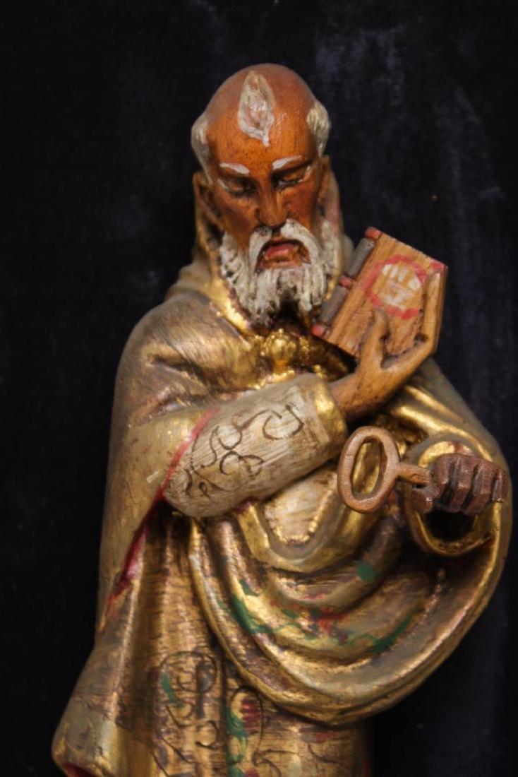 """Mexican Folk Art """"St. Peter"""" Wood Sculpture - 2"""
