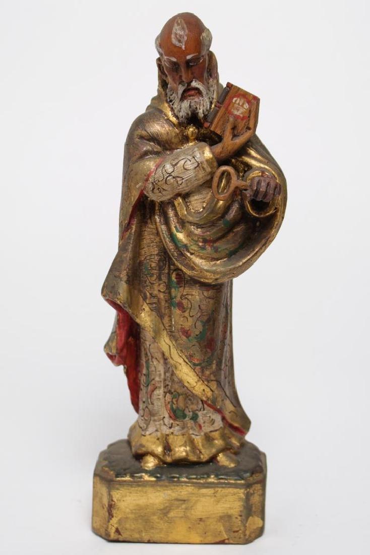 """Mexican Folk Art """"St. Peter"""" Wood Sculpture - 3"""
