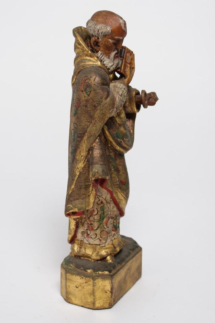 """Mexican Folk Art """"St. Peter"""" Wood Sculpture - 4"""