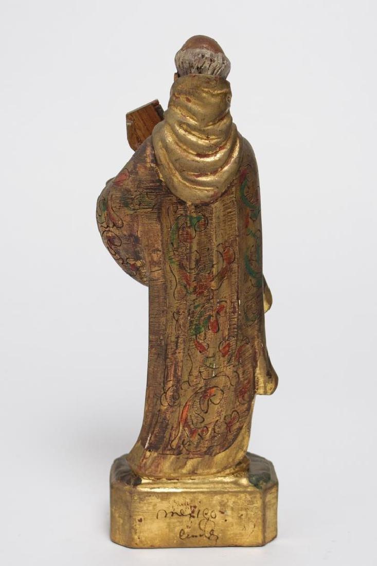 """Mexican Folk Art """"St. Peter"""" Wood Sculpture - 5"""