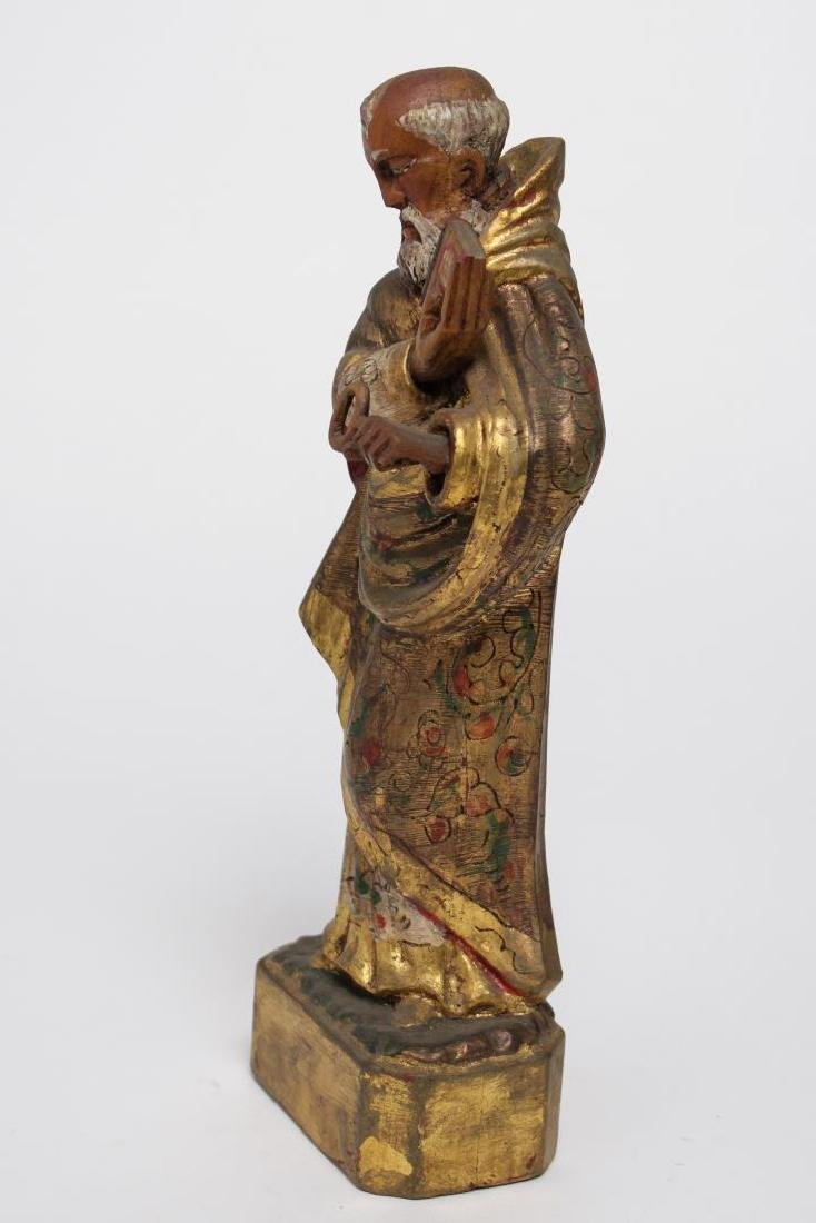 """Mexican Folk Art """"St. Peter"""" Wood Sculpture - 6"""