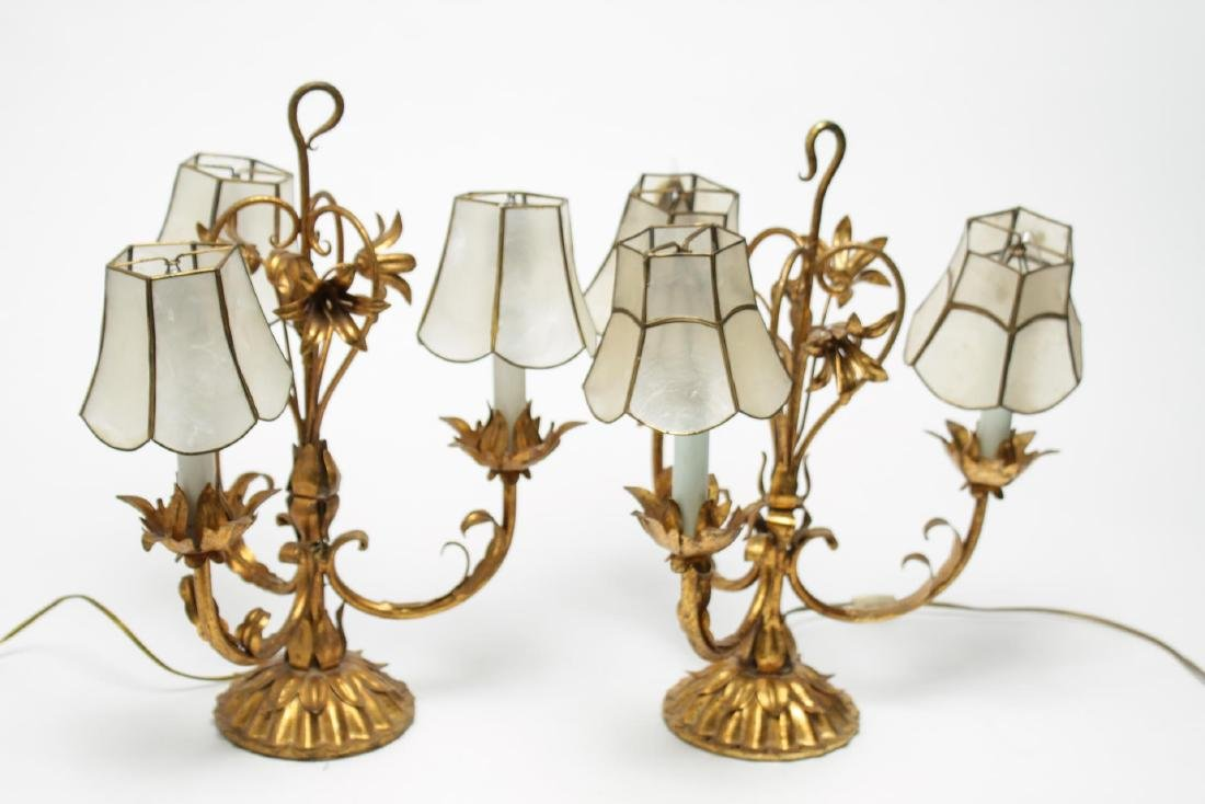 Antique Mica & Gilt Metal Table Lamps