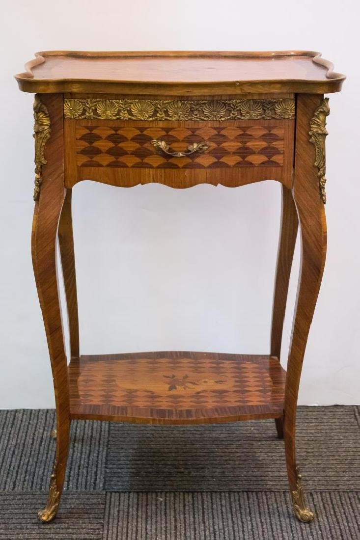 Louis XV-Manner Table, Marquetry-Inlaid Fruitwood