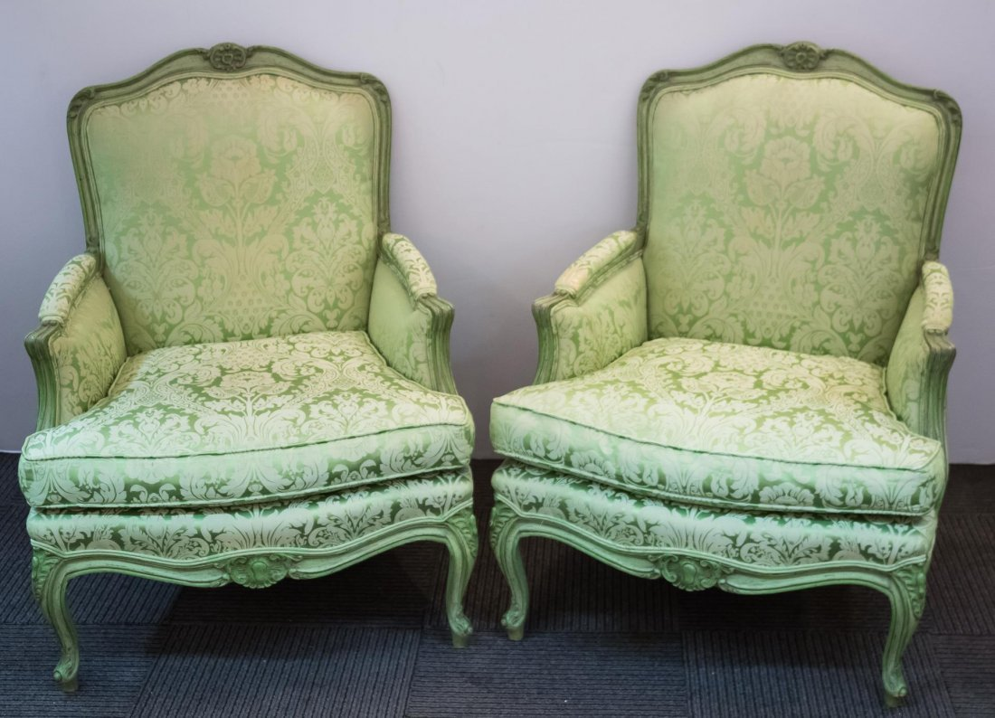 Louis XV-Manner Oversize Bergere Chairs, Pair