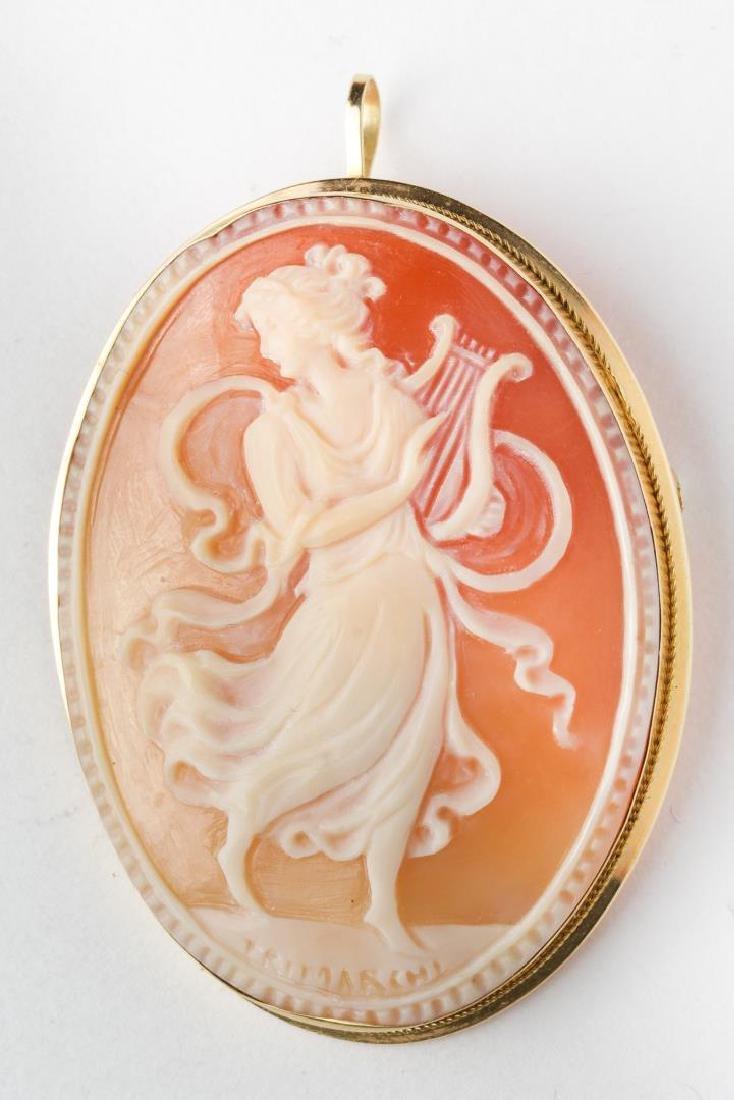 Cameo Brooch, Greek Muse, Set in 18K Gold, Italian