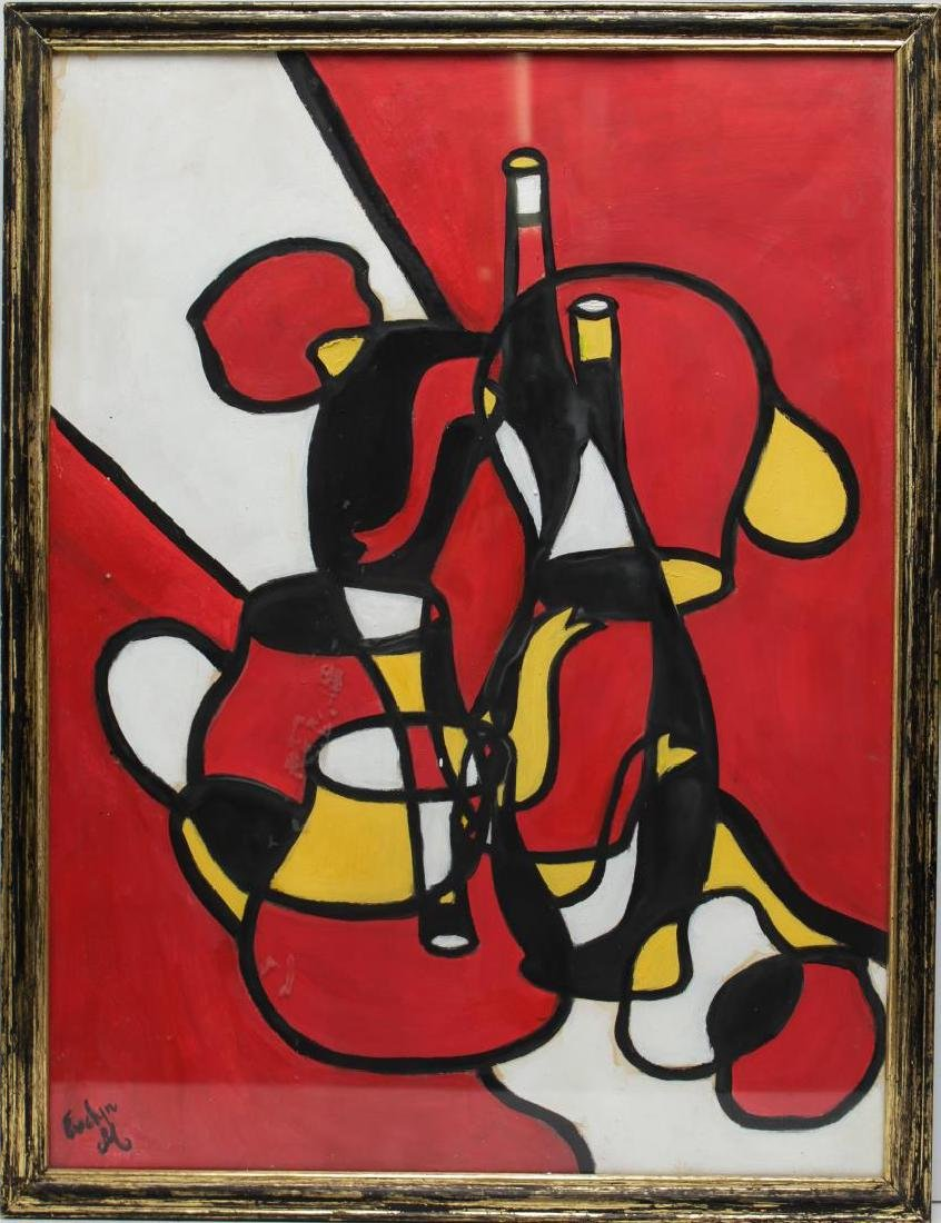 Cubist-Manner Still Life Painting, Signed Evelyn M