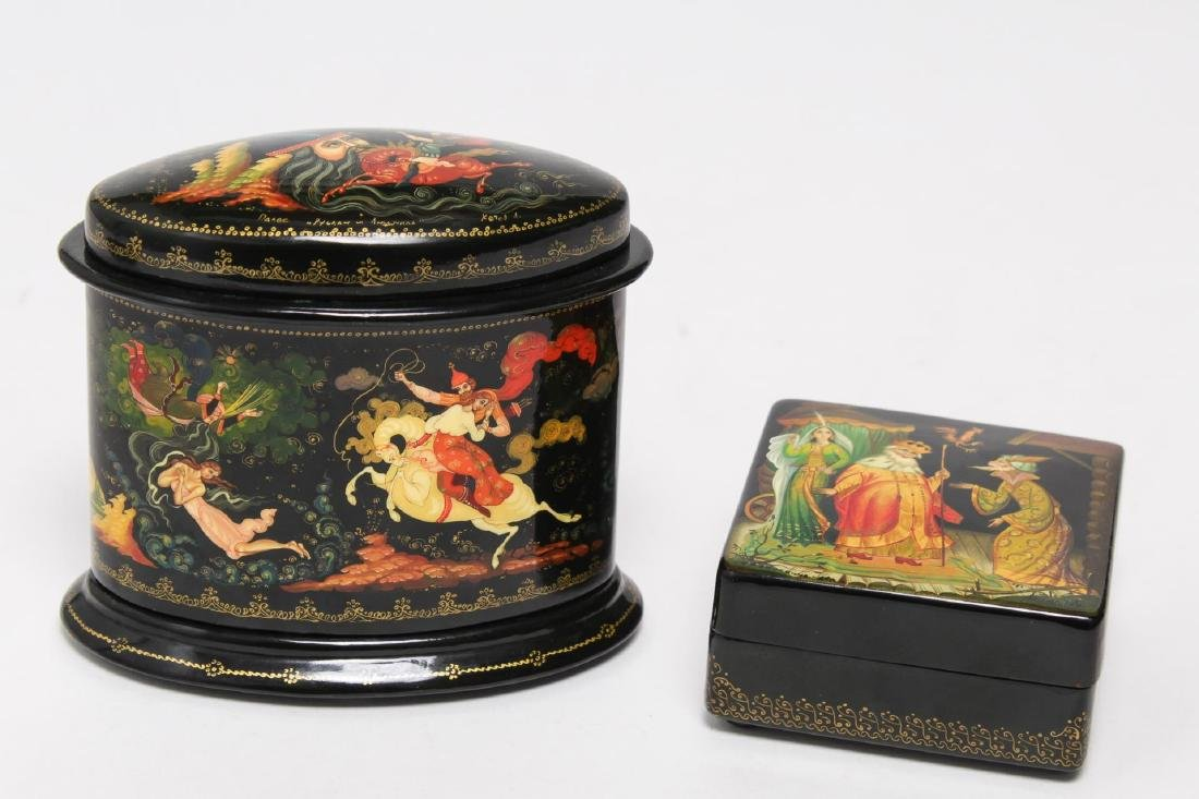 Russian Lacquer Boxes, 2 Vintage