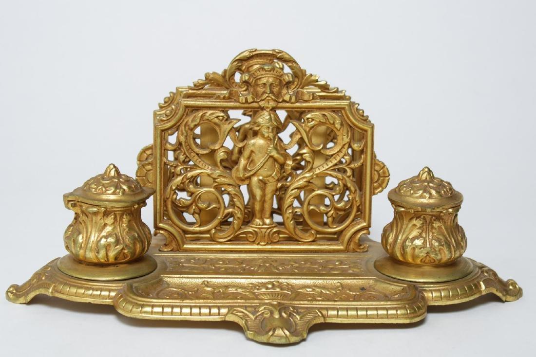 Victorian Gilt Brass Desk Organizer w Inkwells