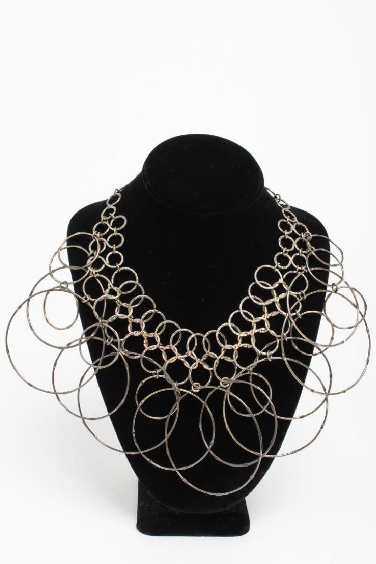 Mid-Century Modern Hammered Silver Links Necklace