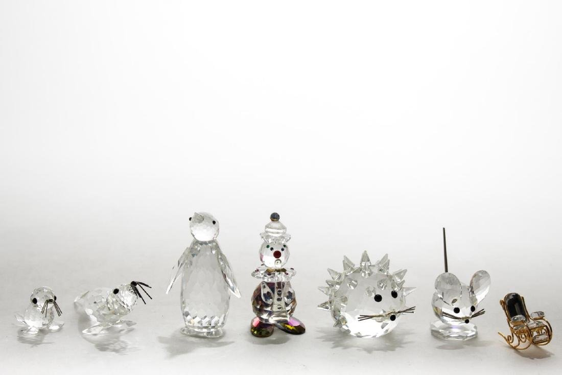 Swarovski Crystal Figurines, 6, with Crystal Clown