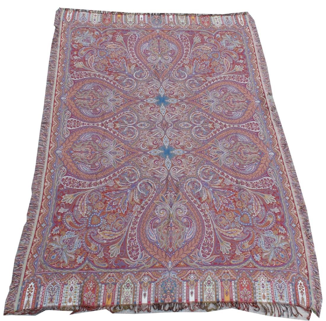Kashmir Wool Fringed Paisley Shawl, 20th Century