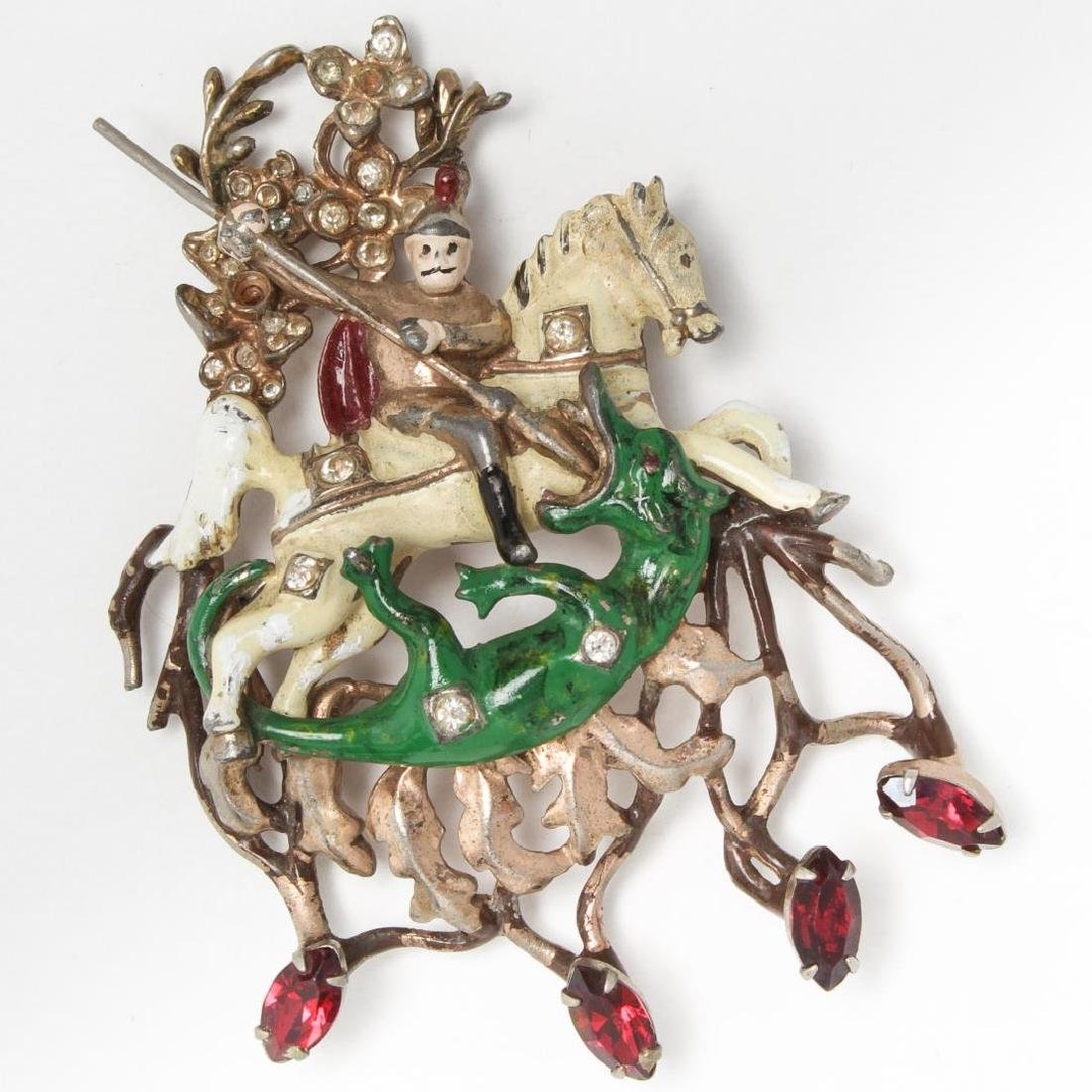 Baroque-Manner Enamel Pin, St. George & the Dragon