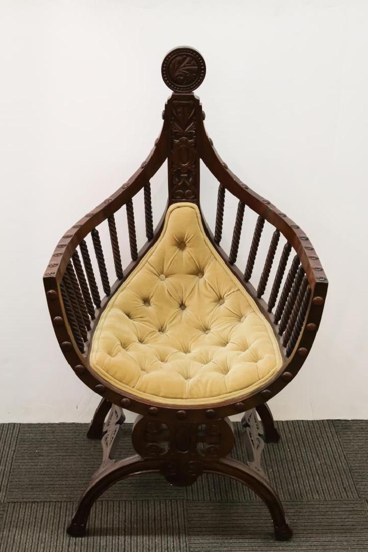 Renaissance Revival Savonarola Wood Chair - 2