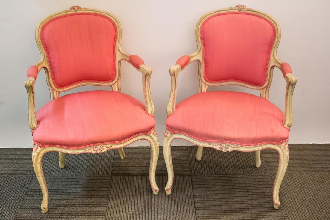 Louis XV-Manner Pair of Fauteuil Chairs