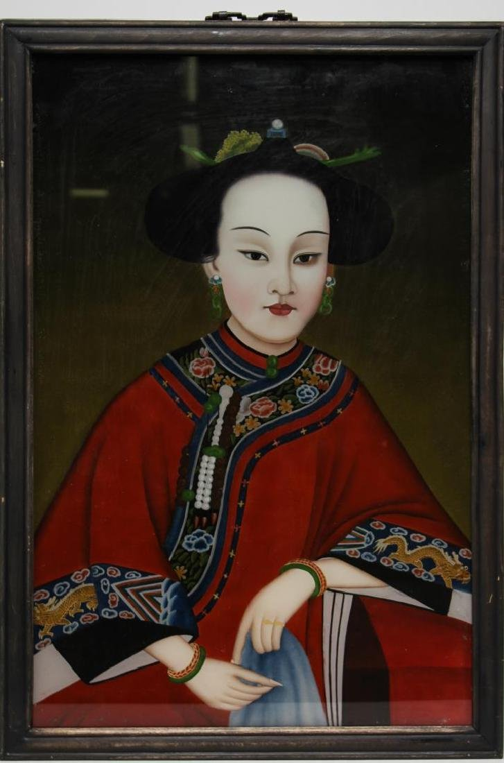 Chinese Qing Dynasty Reverse-Glass Painting, Woman