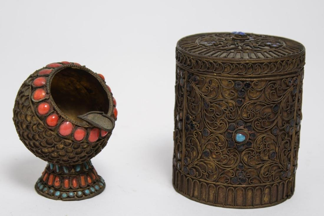 Chinese-Tibetan Brass Box & Ashtray w Cabochons