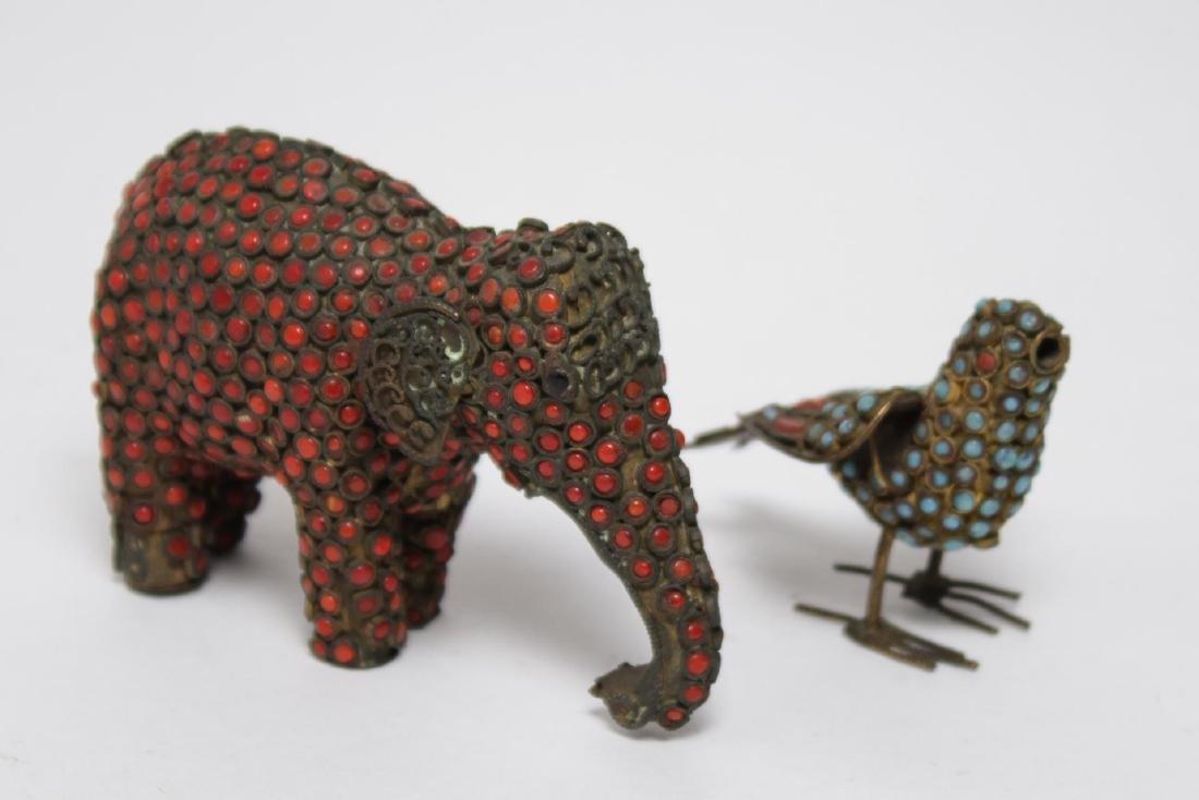 Chinese-Tibetan Brass Elephant & Bird w. Turquoise