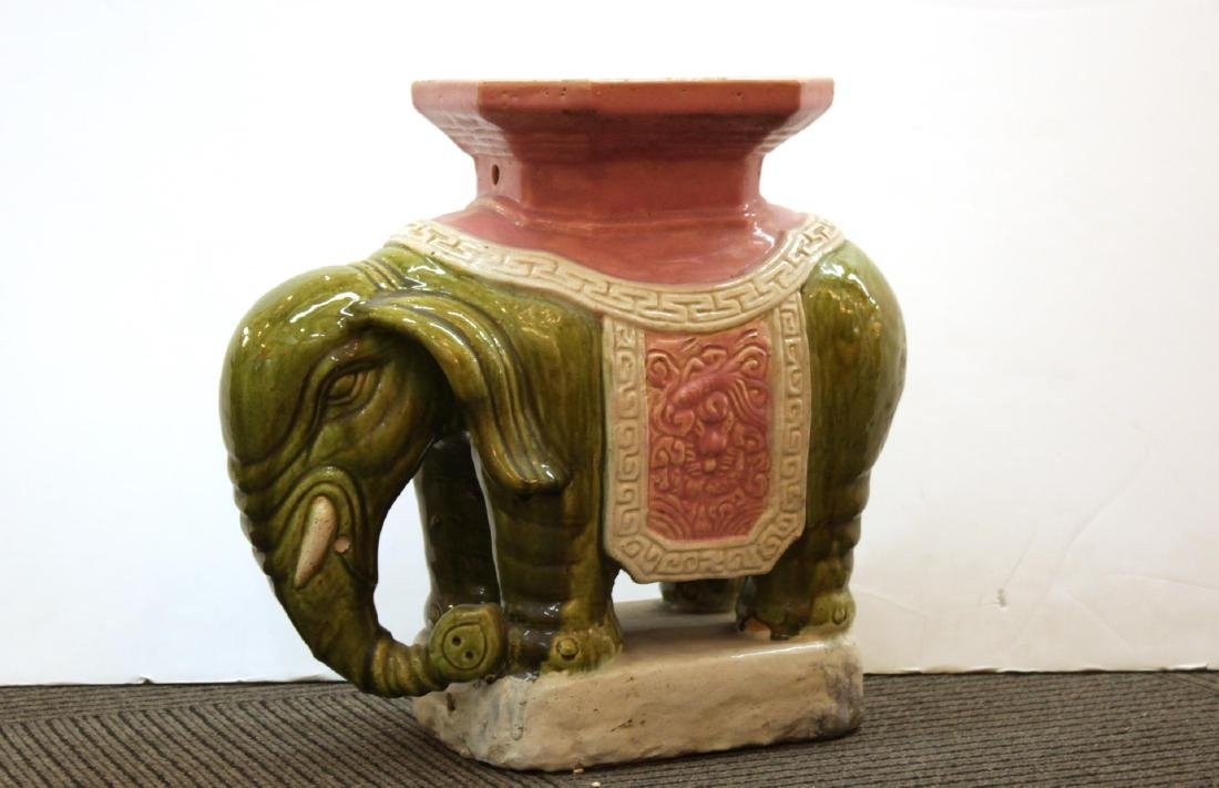 Vintage Ceramic Elephant Garden Seat or Stool
