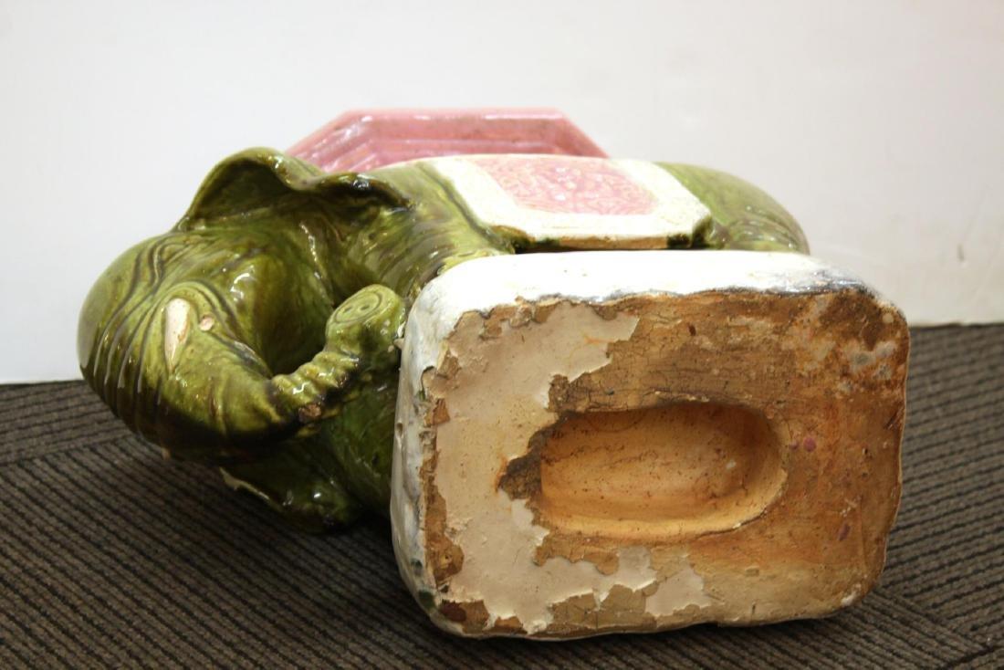 Vintage Ceramic Elephant Garden Seat or Stool - 5