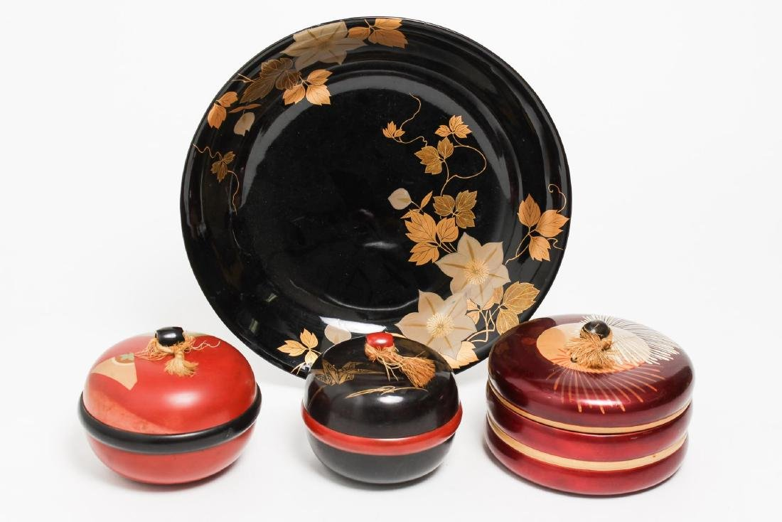 Asian Lacquer Storage & Serving Dishes, 4